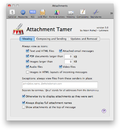Screenshot: Email Attachment Settings